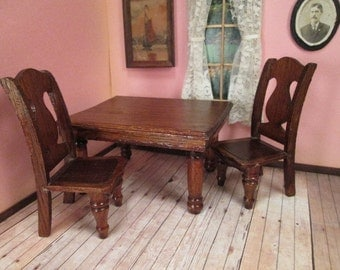 Vintage Dollhouse Furniture - Oak Dining Room Table and 2 Chairs - Larger Scale - Cass or Star Novelty