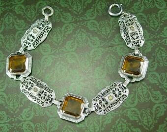 ANtique Art DEco Bracelet golden Citrine or topaz glass stones Filigree and Paste rhinestone silver jewelry