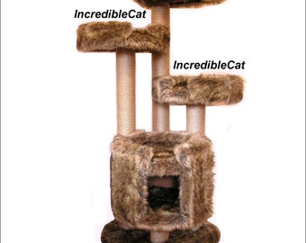 UNIQUE CAT FURNITURE. 5' High Copper Mt, Best Cat Beds, Designer Cat Tree, Elegant Cat Condo, Fancy Cat Trees, Majestic Copper Mt 5F2BCBg