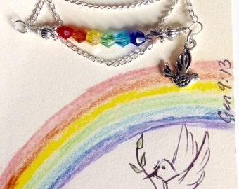 Dainty Rainbow Swarovski Crystal Necklace with Dove