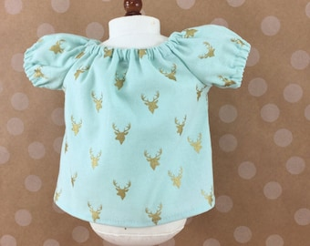 Fits AG 18 Inch Dolls Trendy Peasant Top Light Aqua with Metallic Gold Stag Deer Heads Girls Toy