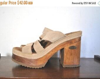 SALE 40% OFF 1990s Platform Sandals / chunky high heel / BONGO / size 7 1/2