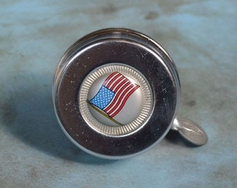 Vintage Bicycle Bell Chrome with American Flag Crown Push Lever
