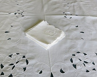 Madeira Tablecloth & Matching Napkins Rectangle Vintage White Cutwork 1980s Tea Party Linen