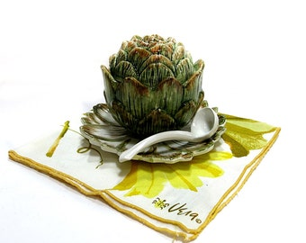 Italian Pottery Hand Painted Artichoke Shaped Bowl with Lid & Ladle Vintage 1980s Kitchen Decor