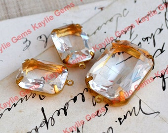 Glass Jewel Set, 2 18x13 Octagon, 1 25x18 Octagon, Clear in Brass Prong Settings for Earrings and Necklace Pendant