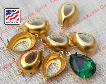 1 Dozen 18x13 Pear Tear Drop Open Back Prong Settings 1 Ring 2 Ring Raw Brass - 12pcs
