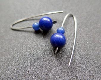 royal blue stone earrings. hypoallergenic earwires. Canadian seller.