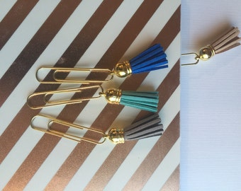 Gold tassel book mark with leather tassel.  Great for planners and books.