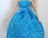 """Ready To Ship - Turquoise 11.5"""" Fashion Doll Dress - Blue 11.5"""" Fashion Doll Dress - 11-1/2"""" Fashion Doll Clothes"""