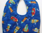 Ready To Ship -  Reversible Rocket Ship Baby Bib - Rocket Ship Toddler Bib - Outer Space Baby Bib - Size 6 Months to 2T