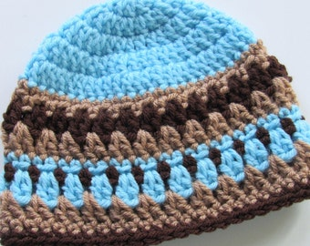 Ready To Ship - Crochet Blue Beanie Hat - Blue and Brown Baby Hat - Crochet Baby Boy Hat - Crocheted Blue Baby Boy Hat - 3 to 6 Months