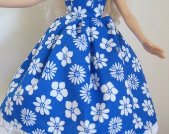 "ReadyTo Ship -  Blue & Whte Floral 11.5"" Fashion Doll Dress - 11-1/2"" Fashion Doll Clothes - Strapless Fashion Doll Dress"