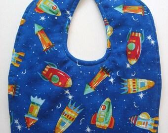 Ready To Ship -  Reversible Rocket Ship Baby Bib - Rocket Ship Toddler Bib - Outer Space Baby Bib - Size 6 Months to 2T #13