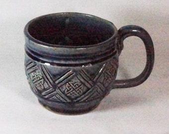 Blue Celtic Soup Mug Handmade Pottery