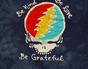 The Grateful Dead Stealie Lightning Bolt Steal Your Face Batik Tee Shirt CUSTOM MADE