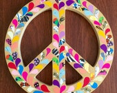 Peace Sign - Solid Wood Free Standing With Recycled Paper Designs
