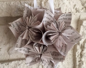 Fifty Shades of Grey Book Small Paper Flower Pomander Ornament