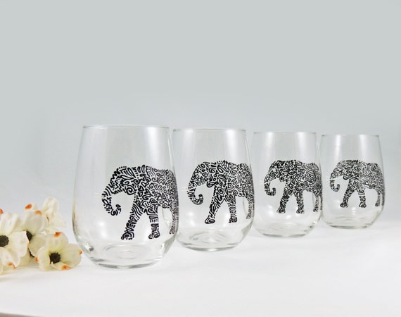 Elephant wine glasses hand painted stemless white wine for Painted stemless wine glasses