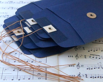 "10 String & Button Envelopes . Number 10 Size (4 1/8"" x 9 1/2"") in Navy Blue"