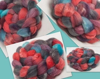 Hand dyed roving, British Shetland,  Kid Mohair,  hand painted roving, tops,100g  spinning  Fibre  Fiber, colour Petworth