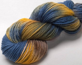 Hand dyed yarn, Bluefaced Leicester,  BFL yarn,  Hand painted DK,  yarn,  Indie dyed,  100g skein, colour; Westerly
