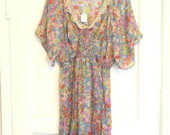 Vintage altered sheer ruched dress tunic soft and flowy medium magnolia pearl style