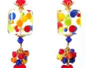 Multicolor polka dot earrings, artisan lampwork glass earrings , multicolor lampwork earrings, confetti cluster, gift for her, rainbow