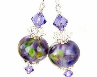 Purple lampwork earrings, purple and green artisan lampwork glass earrings, lavender, lilac, tanzanite purple Swarovski crystal