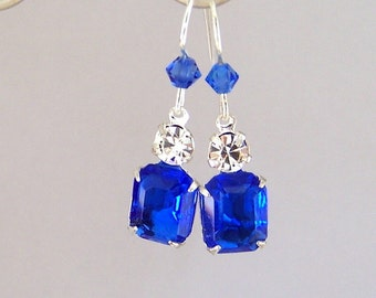 Small sapphire blue earrings, sapphire jewels, tiny blue glass and rhinestone earrings, sparkly sapphire blue bridal, bridesmaids, wedding