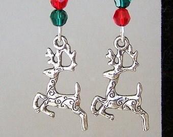 Adorable reindeer earrings, Christmas earrings, Swarovski crystal reindeer earrings, antiqued silver, Swarovski crystal earrings