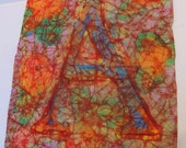 Batik Fabric Art Letter A Heavy Cotton Bright Colors Red Background Unfinished Edge Monogram Alphabet Initial Original OOAK