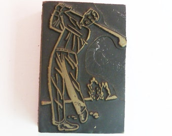"Golfing Golf 2 1/8"" tall Antique Vintage Letterpress Printing Block copper wood nice Midcentury"
