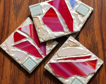 Red and White Recycled Stained Glass Mosaic Coasters (Set of 4)