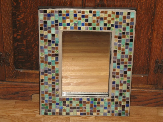 Purple teal mosaic mirror by anndsart on etsy for Teal framed mirror