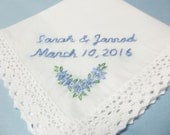 Something blue, wedding handkerchief, bridal gift, bride hanky, personalized wedding  gift, hand embroidered,gift for bride, bouquet wrap