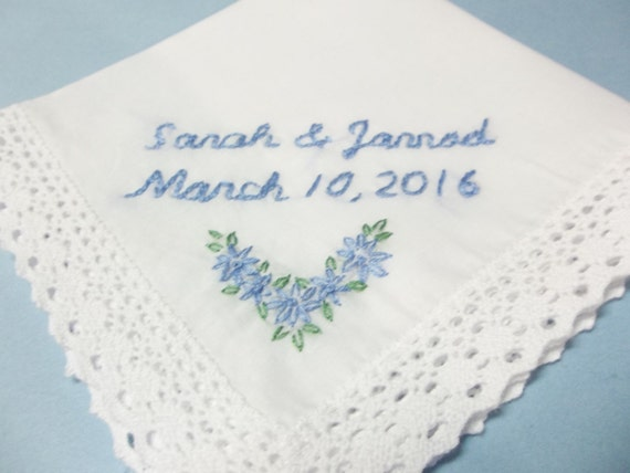 Wedding Gifts For Bride Something Blue : Something blue, wedding handkerchief, bridal gift, bride hanky ...