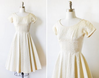 50s cream dress, 1950s wedding dress, vintage brocade dress, extra small