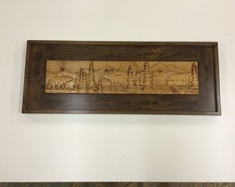 CNC carved Mountain scene