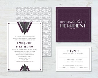Art Deco Wedding Invitation Suite (deposit)