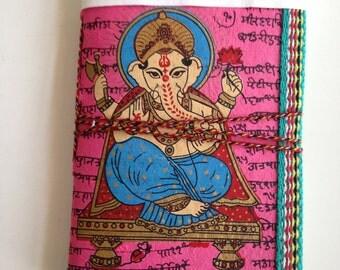 Ganesha Hindu Indian Art Journal, Dark Pink Fuchsia, New Venture Gift, Spiritual Present, God of Auspicious Beginnings, Good luck Present