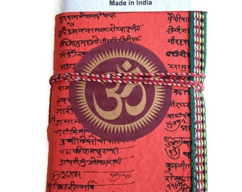 OM Chakra, Blank Journal, Medium Journal, Orange, 6 x 4 inches, Vedanta Gift, Personal Book, Hindu Diary, Religion Study Notes, notebook