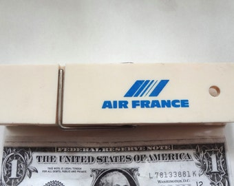 Vintage Air France Giant Clothes Pin Paper Holder Blue And White 6 X 1.5 Inches Functional Souvenir Airline Memorabilia
