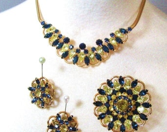 50s Vintage Signed Kramer Rhinestone Parure Set, Sapphire Blue & Citrine Yellow, Necklace, Brooch Pin, Earrings, Kramer of New York, Superb