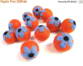 ON SALE 15% OFF Orange Felt Balls with Blue Flower - 12 Pure Wool Beads 20mm -
