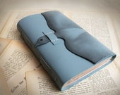 Blue Leather Journal,  Leather Notebook, Stained Pages Journal, Blue Bird