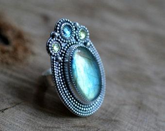 Sterling Labradorite Topaz Ring, Oxidised Peridot Ring, Sterling Silver Gemstone Ring,