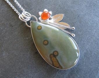 Ocean Jasper Pendant with Carnelian, Flower, and Leaves in Sterling Silver