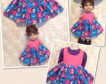 Snowmen Pink Dots - Matching dress for Child sz 1 2 3 and American Girl or Bitty Baby doll - sewnbyrachel