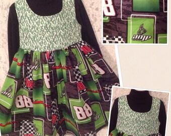 CUSTOM SIZES * 88 Dale Jr * dress jumper for girl size 2 3 4 5 6 7 8 10 12 14 your choice - sewnbyrachel